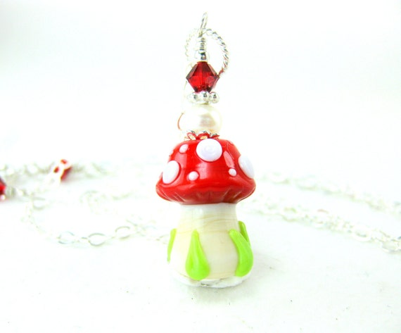 Mushroom Necklace, Woodland Necklace, Nature Jewelry, Red White Polka Dot Necklace, Lampwork Necklace, Glass Necklace - Polka Dot Mushroom