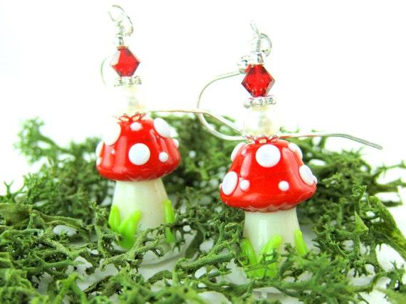 Mushroom Earrings, Red White Mushroom Lampwork Earrings, Toadstool Earrings, Red White Glass Bead Earrings - Polka Dot Mushrooms