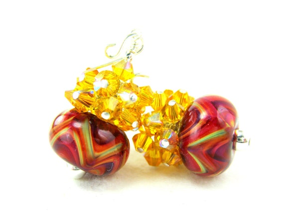 Yelow Crystal Cluster Earrings, Red Yellow Orange Boro Lampwork Earrings, Red Beadwork Earrings, Red Dangle Earrings - Sunny Side Up