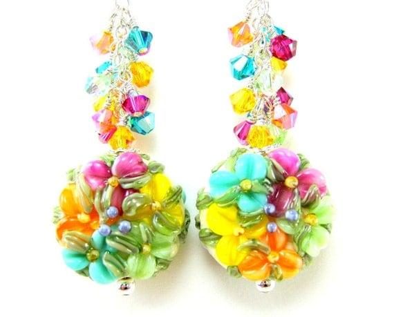Floral Lampwork Earrings, Rainbow Floral Glass Bead Earrings, Flower Earrings, Colorful Earrings, Bright Colors -  Glorious Wildflowers