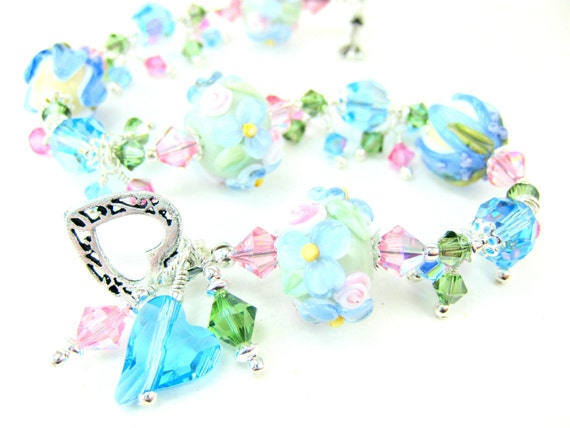 Pastel Flower Glass Bead Bracelet,  Mint Green Aqua Blue Pink Floral Lampwork Bracelet, Blue Bracelet, Mint Green Bracelet - Summer Mint