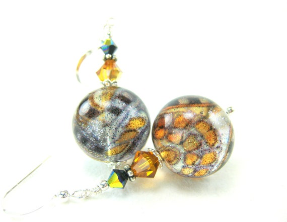 Topaz Black Murano Earrings, Amber Blue Black Venetian Glass Earrings, Beadwork Earrings, Amber Earrings, Dangle Earrings - Taxi Cab