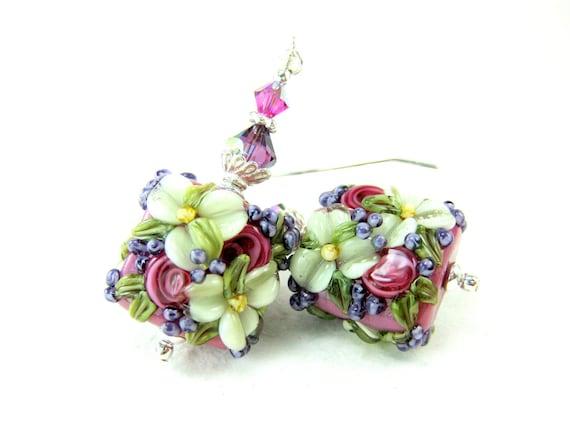 Pink Flower Earrings, Raspberry Pink Ivory Purple Floral Lampwork Earrings, Pink Ivory Glass Bead Earrings - Mother's Day Bouquet