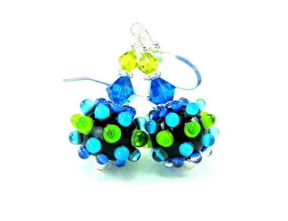 Glass Earrings, Lampwork Earrings, Blue Green Earrings, Bumpy Bead Earrings, Neon Earrings, Beadwork Earrings, Dangle Earrings - Shocking