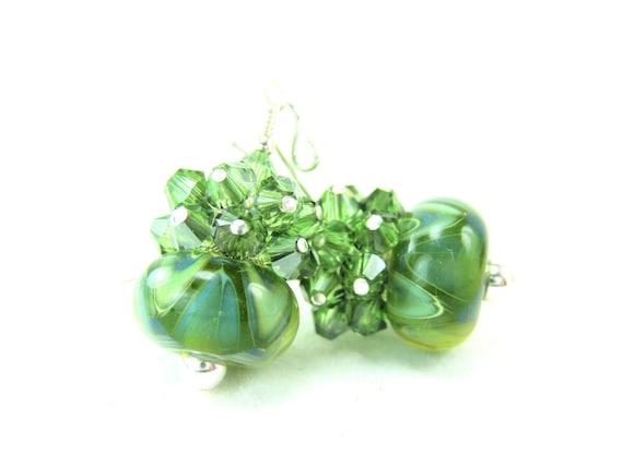 Green Earrings, Olive Green Glass Bead Earrings, Olive Green Blue Boro Lampwork Earrings, Olive Green Earrings, Fall Earrings - Dill Pickles