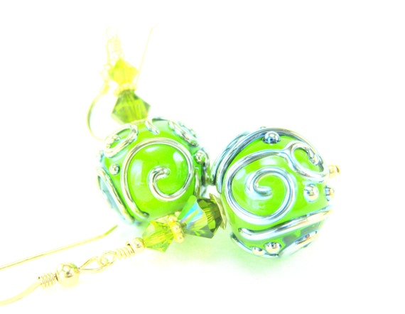 Spring Green Glass Earrings, Apple Green Gold Lampwork Earrings, Lime Green Glass Bead Earrings, Beadwork Dangle Earrings - Twist of Lime