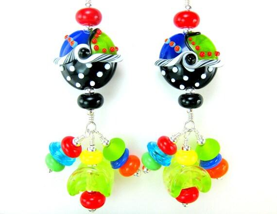 Colorful Lampwork Earrings, Beadwork Earrings, Funky Earrings, Long Dangle Earrings, Statement Earrings, Glass  Earrings - Monkey  Business