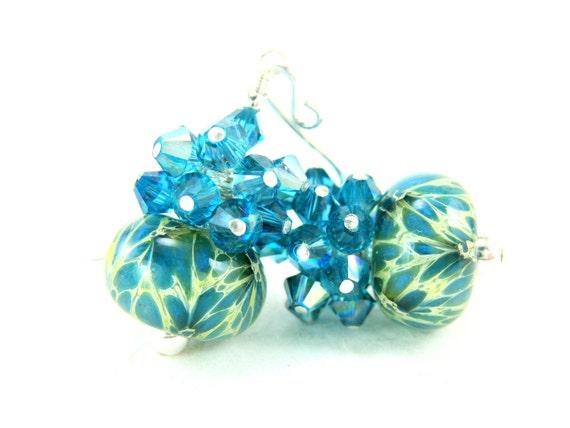 Blue Teal Boro Lampwork Earrings,  Blue Teal Cream Glass Bead Earrings, Blue Glass Earrings, Teal Earrings - Peacock Strut