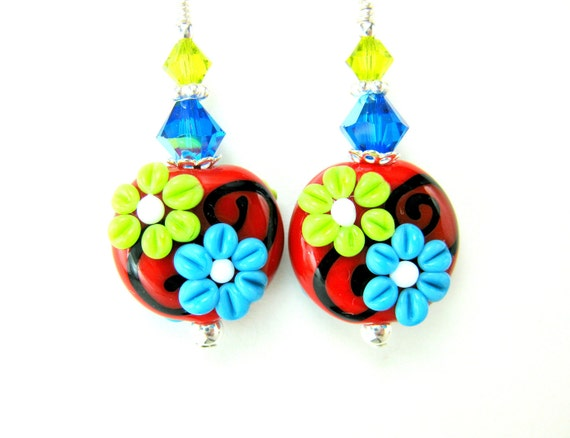Colorful Lampwork Earrings, Floral Earrings, Flower Earrings, Red Turquoise Lime Earrings, Beadwork Earrings, Primary Colors  Happy Together