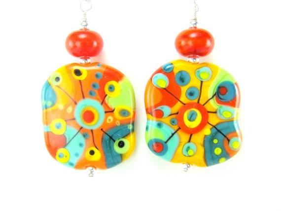 Orange Yellow Glass Earrings, Abstract Earrings, Colorful Lampwork Earrings, Orange Yellow Green Earrings, Summer Earrings - Mad Scientist