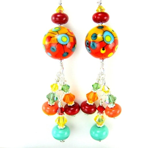 Colorful Glass Earrings, Lampwork Earrings, Yellow Red Orange Earrings, Beadwork Earrings, Funky Earrings, Unique Dangle Earrings - Cosmic
