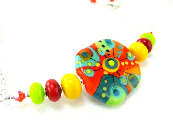 Statement Necklace, Colorful Lampwork Necklace, Funky Glass Necklace, Beadwork Necklace, Orange Yellow Red Green Necklace - Mad Scientist