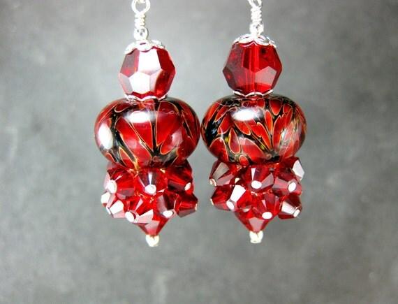 Boro Lampwork Earrings, Red Glass Earrings, Red Black Glass Bead Earrings, Red Earrings, Crystal Earrings, Boho Earrings- Red Velvet
