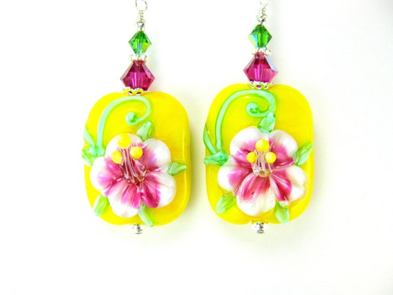 Hibiscus Earrings, Yellow Pink Floral Lampwork Earrings, Beadwork Earrings, Flower Earrings, Glass Earrings, Tropical Earrings - Hibiscus