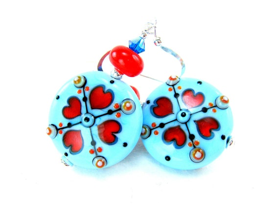 Turquoise Lampwork Earrings, Turquoise Red Glass Earrings, Red Heart Earrings, Turquoise Earrings, Summer Earrings - Country Girl