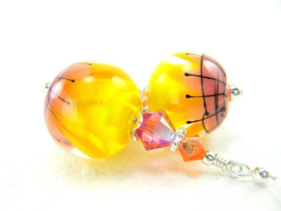 Yellow Flower Earrings, Beadwork Earrings, Colorful Lampwork Earrings, Yellow Pink Orange Glass Earrings, Dangle Earrings - Pineapple Punch