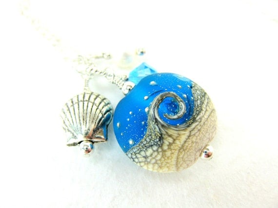 Beach Necklace, Ocean Necklace, Blue White Wave Lampwork Necklace, Seashell Necklace, Charm Necklace, Summer Beadwork Necklace - Tidal Wave