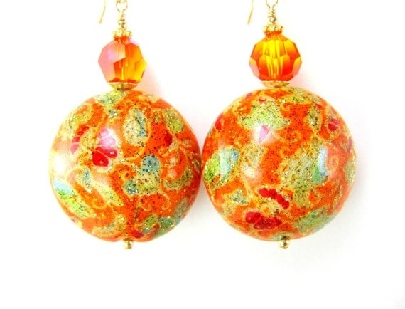 Orange Murano Earrings,  Orange Gold Green Venetian Glass Bead Earrings, Orange Earrings, Fall Earrings, Fall Colors - Great Balls of Fire