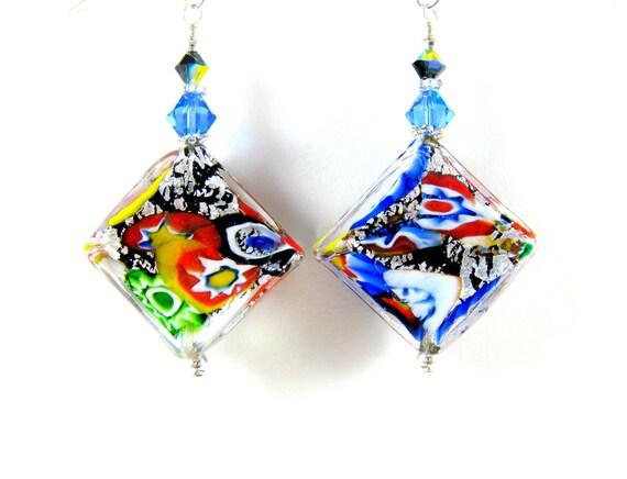 Klimt Murano Earrings, Black Multicolor Murano Glass Earrings, Multicolor Venetian Glass Earrings, Colorful Earrings - Fly a Kite