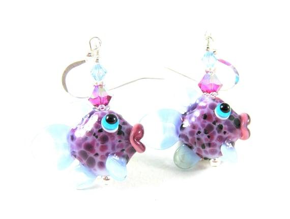 Purple Fish Earrings, Tropical Fish Earrings, Lampwork Glass Bead Earrings, Purple Blue Pink Beadwork Earrings, Fish Jewelry -  Bessy & Bass