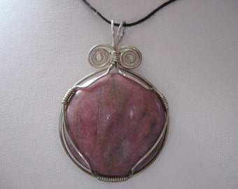 Lovely Rhodonite wrapped in sterling silver pendant