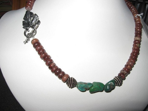 Earthy Crazy Horse Stone and Green Torquoise necklace