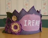 I LOVE Purple Flower Birthday Crown