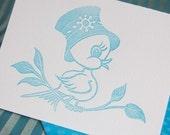 Birthday Greeted blue bird letterpress linocut card