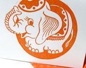 Birthday Card Elephant Linocut Letterpress