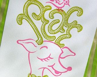 Dreams of Peace letterpress Linocut Christmas Card