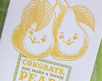 Lovely Pear Letterpress Wedding Card