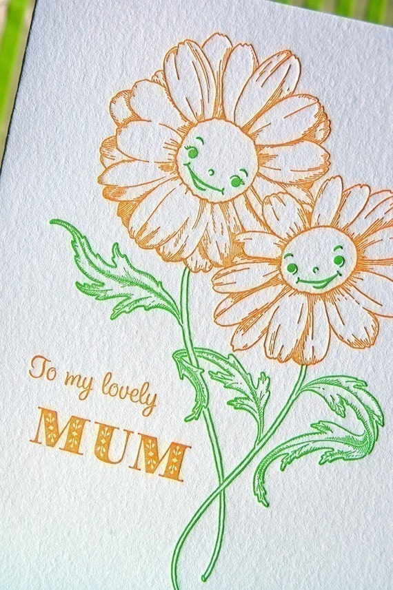 Letterpress Mothers Day for a lovely Mum or birthday card