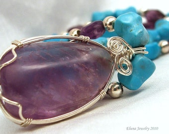Ametrine Pendant Necklace, Chunky Statement Necklace with Turquoise and Amethyst beads