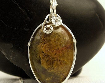 Moss Agate - Golden Moss Agate and Sterling Silver Necklace