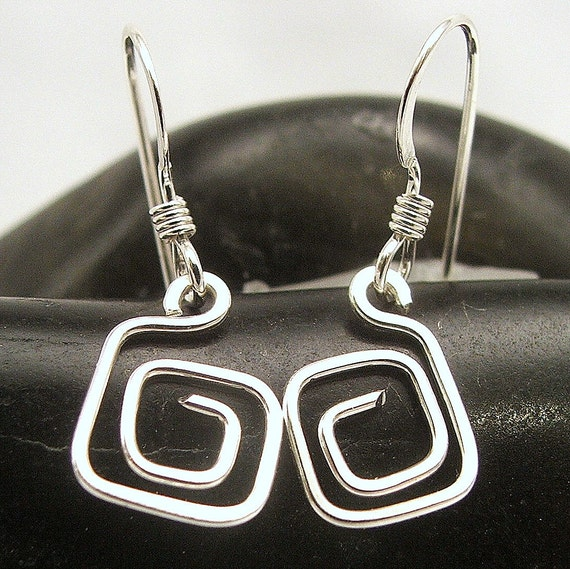 Sterling Silver Grecian Square Earrings