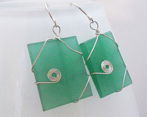 Mint Green Recycled Glass Earrings