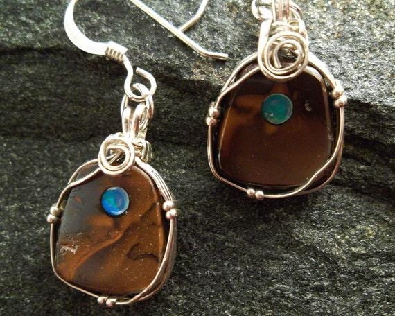 Opal Earrings - Australian Boulder Opal Earrings with Inlay