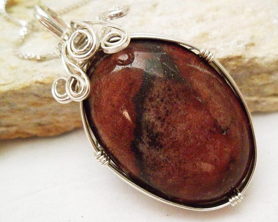 Red  Jasper Necklace, Red Jasper Gemstone Pendant Wrapped in Sterling Silver