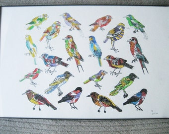 Hand Screen Printed and Watercolored Bird Poster/Print