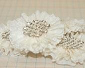 4 Creme Crepe Paper Flowers
