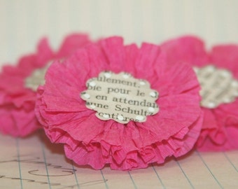 4 Hot Pink Crepe Paper Flowers