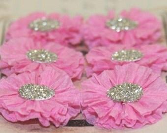 6 Small Dark Pink Crepe Paper Rosettes