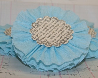 Large Light Blue Crepe Paper Flowers
