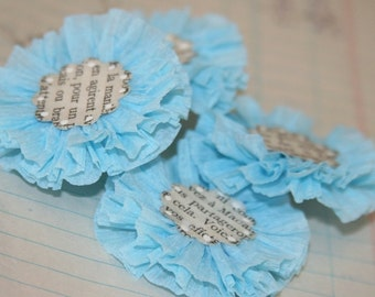 4 Light Blue Crepe Paper Flowers