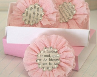 4 Pale Pink Crepe Paper Flowers