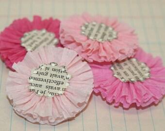 4 Pink Variety Crepe Paper Flowers