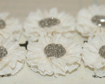 6 Small Creme Colored Crepe Paper Rosettes
