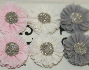 6 Small Pale Pink, Creme, and Dove Grey Crepe Paper Rosettes