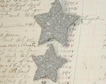 Genuine German Silver Glitter Three Star Vintage Inspired Ornament