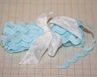 Light Blue Ric Rac Ribbon 3 yards 3/8th inch wide